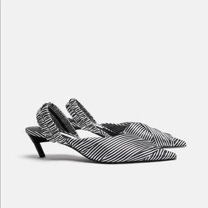 Zara striped fabric high heel slingback size 40